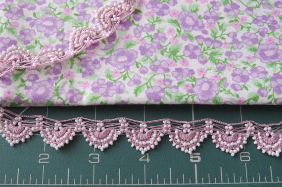 Soft purple/lilac/pink color cotton fabric with assorted oya trim