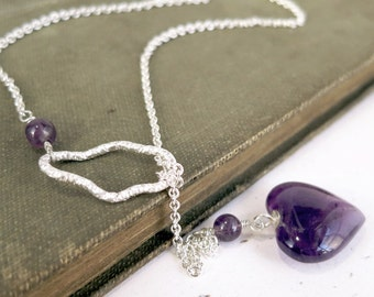 Amethyst necklace, Sterling silver, purple heart, lariat, Birthstone jewelry