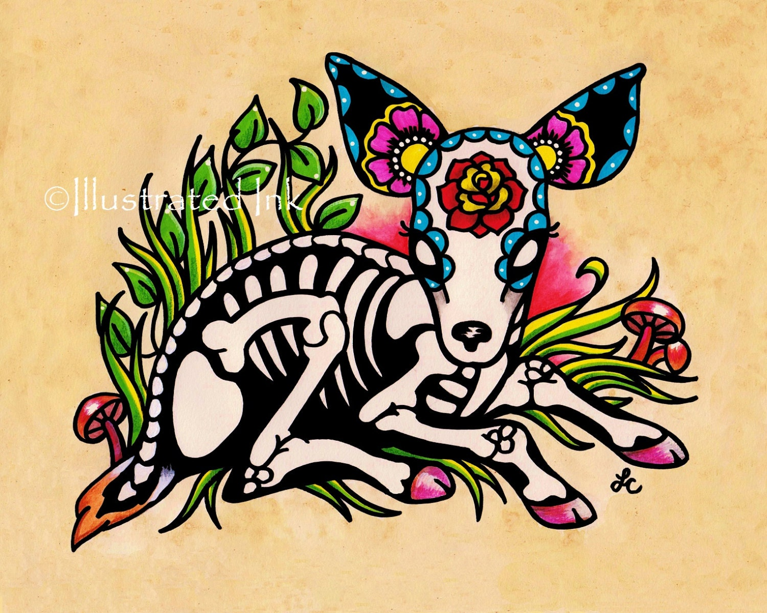 Day of the dead deer fawn dia de los muertos art print 5 x 7 for Old school day of the dead tattoo