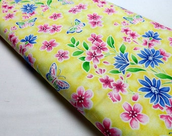 Fat Quarter Northcott Ming Garden Butterfly Butterflies Yellow Blossoms Leaves Quilting and Sewing Fabrics