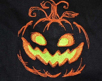 Jack O Lantern and Pumpkin Man Embroidered Trick Or Treat Bag 2 Sided