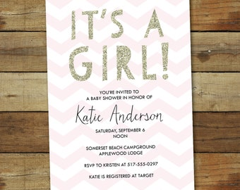 baby shower invitation for baby girl, baby shower invitation in Gold and pink glitter, printable baby shower invite