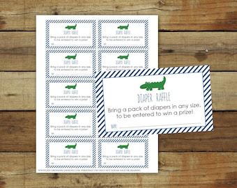 Printable alligator diaper raffle invitation inserts, alligator baby shower, instant download pdf