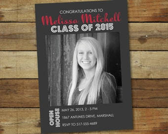 Graduation open house invitation, modern graduation announcement, photo graduation announcement card, photo card, class of 2016