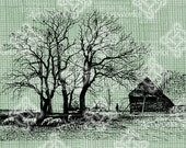 Digital Download Old Farm, Farmhouse, Country Homestead Landscape, Rural Scene with log cabin, Vintage drawing, digi stamp, Digital Transfer