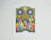 PRINT - Owl Art Poster - geometric modern