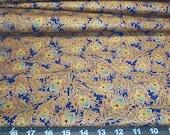 Fabric Fat Quarter - exquisite golden peacock feathers on cobalt blue - fiber arts crafts home decor crafts quilting