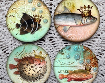 Something's Fishy Here --Fanciful Crowned Fish Mousepad Coaster Set