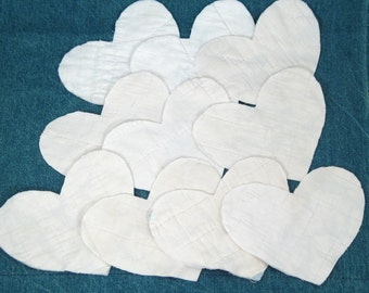 10 Cutter Quilt Hearts - Blank White - Vintage Quilt Fabric Hearts - Shabby - Primitive crafting supplies - heart applique - die cut shapes