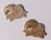 Ceramic Mosaic Tile or Brooch Pin Porcelain Pomeranian