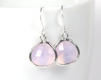 October Birthstone Pink Opal and Silver Framed Dangle Earrings, Silver Earrings, Pink Opal and Silver Earrings, October Birthday Gift, #794