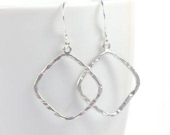 Simple Silver Hammered Diamond Earrings, Silver Earrings, Silver Dangle Earrings, Diamond Drop Silver Earrings, #871