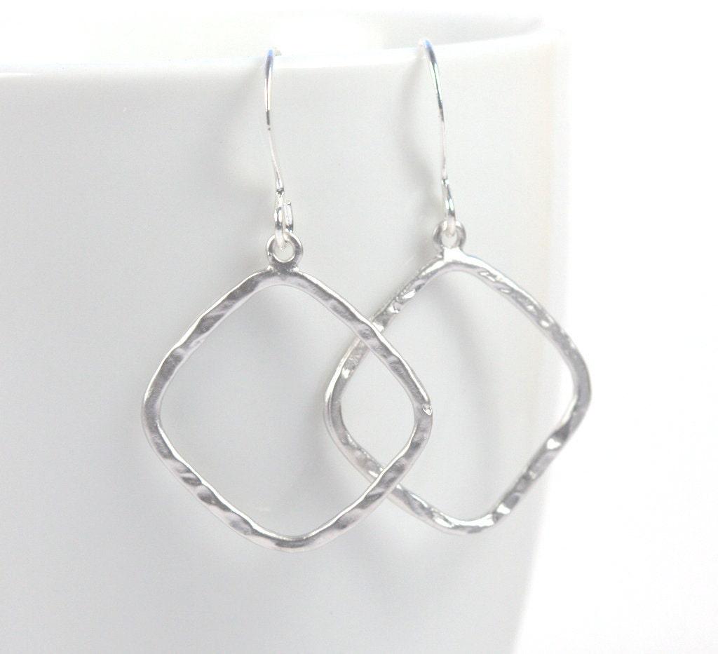 Simple Silver Hammered Diamond Earrings Silver Earrings