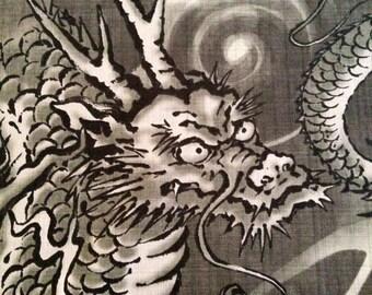 Hokkoh Majestic Dragons in shades of smoky gray Japanese dobby cotton fabric 6F