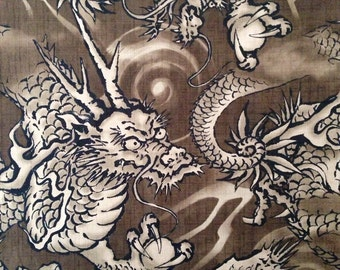 Hokkoh Magestic Dragons in brown Japanese dobby cotton fabric 6D