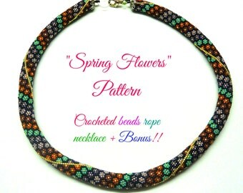 Beading Crochet rope pattern necklace Spring flowers Tutorial and bonus  for personal use only