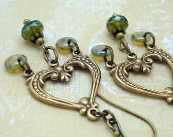 Neo Victorian Chandelier Earrings in Olive Green