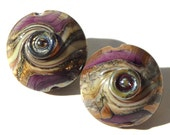 Bronze Berry Bliss- handmade lampwork glass lentil pair in metallic plum, taupe and silvered ivory