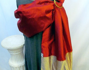 SALE - Ring Sling Silk Double Layer Baby Carrier - Poppy and Gold - DVD included