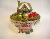 CHRISTMAS DECORATION Snowy Putz House Vignette Box Vintage Altered Art Assemblage