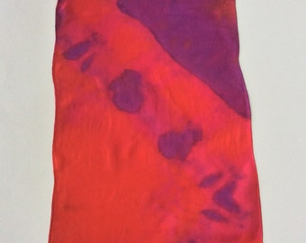 Red, Pink and Purple Hand Tie Dyed Silk Scarf