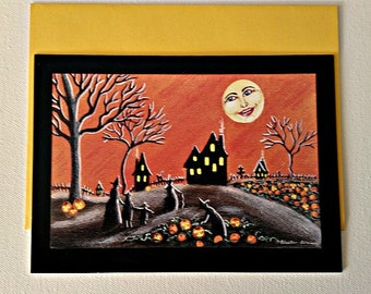 """Halloween frame-able greeting card """"Ripening J-O-L's"""