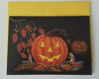 """Halloween frame-able greeting card """"Autumns Surprise"""""""