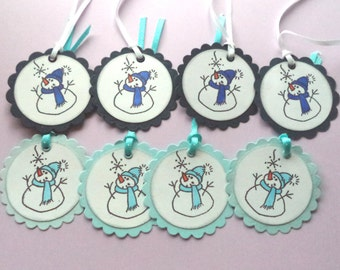 Navy Blue Snowman Christmas Gift Tags, Light Blue Tags, Gift Giving Tags, Scrapbook Embellishment, Set of 8