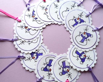 Snowman Christmas Gift Giving Tags, White Scallops on White, Lavender Snowman, Set of 12