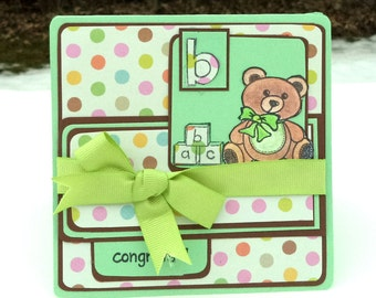 Congrats Card, New Baby Card, Teddy Bear Baby Card, Green and Brown Polka Dots, Newborn Baby Announcement, Baby Shower Card