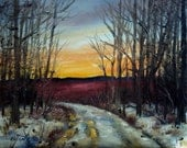 December Blueberry Fields Sunset  Maine Landscape Oil Painting