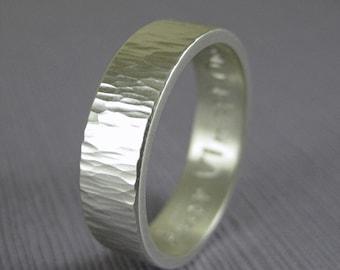 Engravable hammered wedding band, custom silver band, personalized mens wedding band, tree bark hammered silver ring custom made, handmade