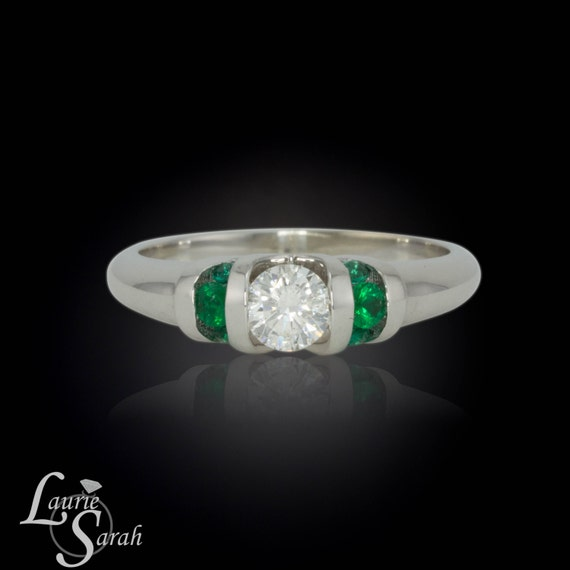 Emerald Ring, Diamond and Colombian Emerald Ring - Channel Set Stones - LS786