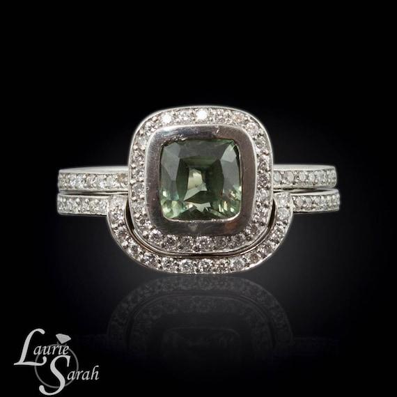 Sapphire Engagement Ring, Platinum Cushion Cut Green Sapphire Engagement Ring with Diamond Halo Wedding Set - LS1690