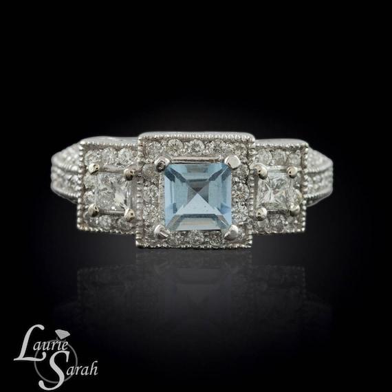 Aquamarine Engagement Ring, Aquamarine and Diamond 3 Stone Ring - Engagement, Anniversary, or Just Because - LS1112