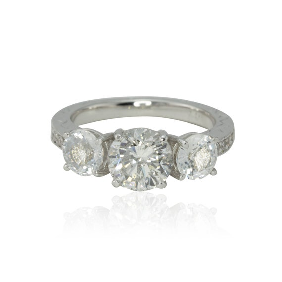 White Sapphire Engagement Ring, White Sapphire and 2 carat Diamond 3 Stone Ring - Engagement Ring with hand engravings - LS1025