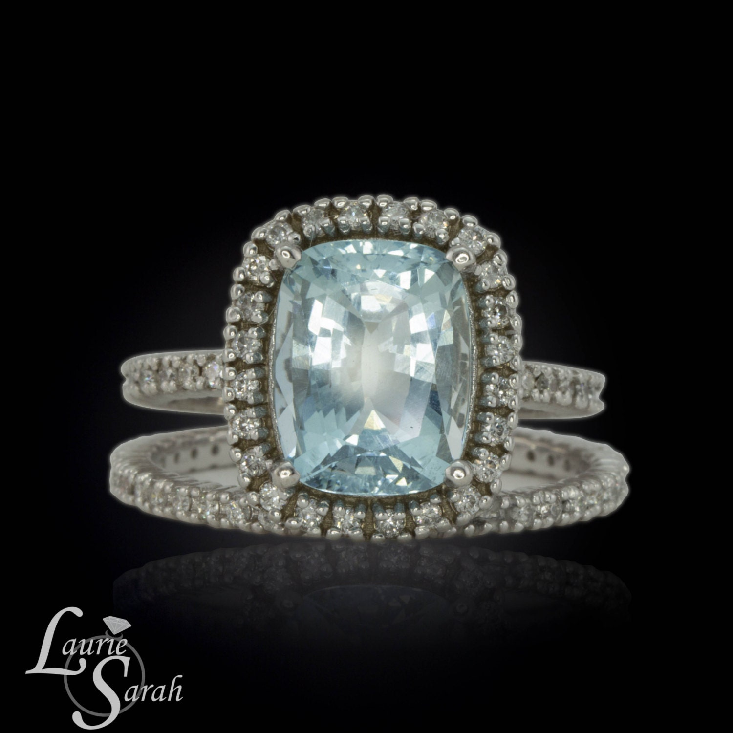 Engagement Ring Rectangle Cushion Cut Aquamarine Engagement