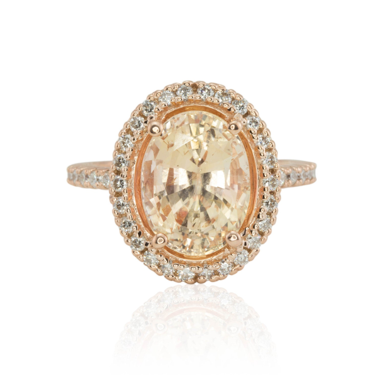 Peach Sapphire Engagement Ring Oval Peach Sapphire Ring