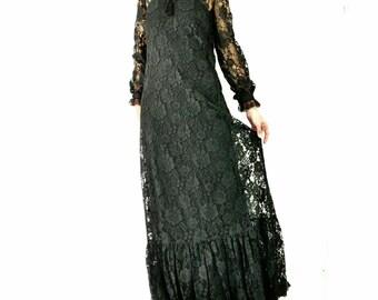 Vintage 60s Sheer Long Black Lace Dress Prairie Victorian Boho Elegant Small