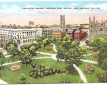 Vintage 1930's -1950's  Linen Postcard Lafayette Square Post Office, New Orleans, LA