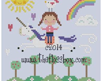 Spring Unicorn Cross Stitch
