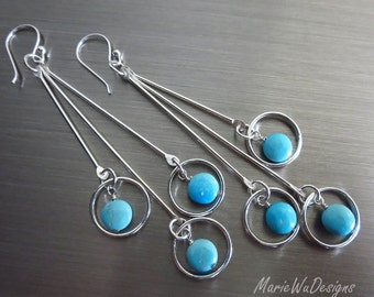 Sleeping Beauty Turquoise-Cascading Multi Tiered Hoop-Sterling Silver Long Earrings