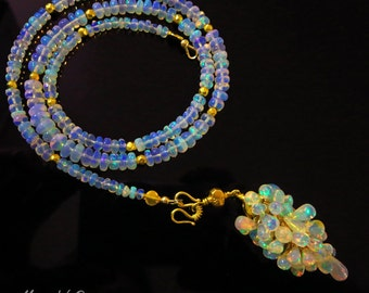 25%off-3in1 70ct Best Ethiopian Welo Opal-October Birthstone-18k Solid Gold-Briolette Cascade 3 Way Pendant Necklace