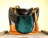 SAMPLE/// Oxford Tote///Multi Colored Leather with Peacock Blue Pony Hair Pocket