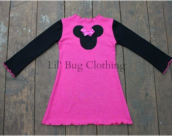 Minnie Mouse Pink Dress, Minnie Mouse Birthday Girl Dress, Minnie Mouse Comfy Knit Dress
