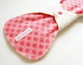 "11"" Organic Hemp Fleece & Cotton Flannel Heavy Cloth Menstrual Pad, Coral Pink Polka Dots, Incontinence Pad, Overnight Pad, Cloth Sanpro CSP"