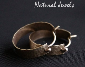 RUSTIC Wide robust hammered Sterling silver hoops