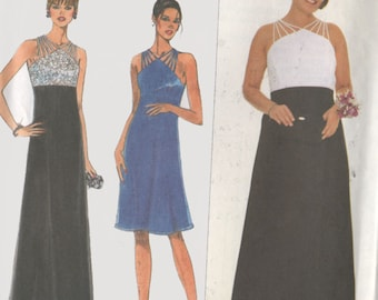 Empire Evening Dress Corded Shoulder Straps Simplicity 8601 Onyx Nite Womens Sewing Pattern Size 10-14 UNCUT