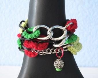 "Fiberpunk™ Bracelet - Christmas Jewelry - Emerald/Chartruese/Red - Wrist Size 5.5"" - 6.5"" / Fiber Jewelry / Crochet Jewelry / Tatted Jewelry"