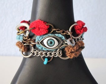"Fiberpunk™ Bracelet - Sky Blue/Red/Brown - Wrist Size 5.5"" - 6.5"" / Fiber Jewelry / Crochet Jewelry / Tatted Jewelry"